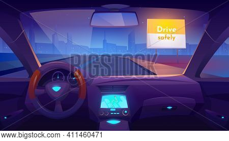 Car Interior Inside With Gps On Dashboard And View Through Windshield On Night Road And Cityscape Sk