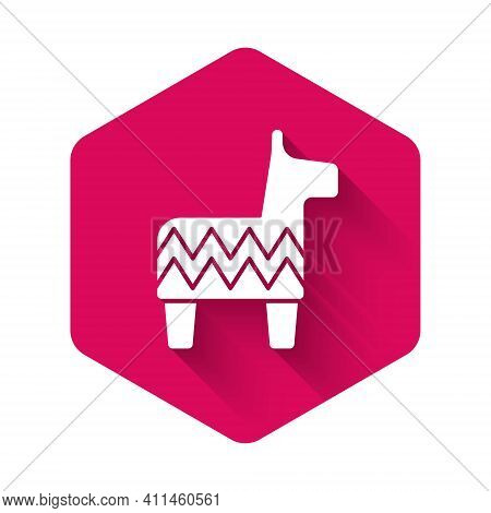 White Pinata Icon Isolated With Long Shadow Background. Mexican Traditional Birthday Toy. Pink Hexag