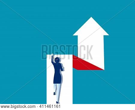A Woman Is Effort Moving Up On The Arrow