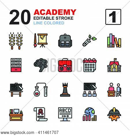 Icon Set Of Academy. Line Colored Style Icon Vector. Contains Such Of Agriculture, Class, University