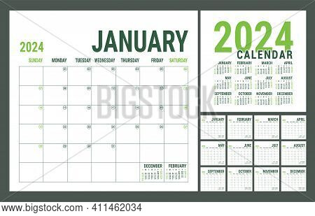 Calendar 2024 Year. English Planner Template. Vector Square Grid. Office Business Planning. Creative