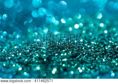 Blue Glitter Texture. Festive Background. Color Sparkles. Abstract Advertising