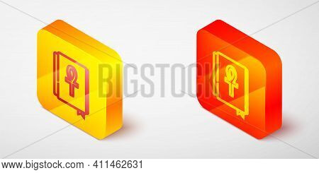Isometric Line Cross Ankh Book Icon Isolated On Grey Background. Yellow And Orange Square Button. Ve