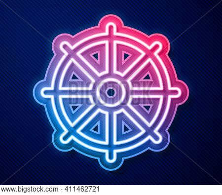Glowing Neon Line Dharma Wheel Icon Isolated On Blue Background. Buddhism Religion Sign. Dharmachakr