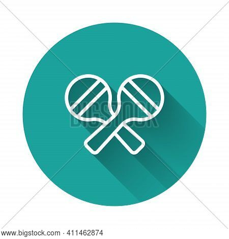 White Line Maracas Icon Isolated With Long Shadow Background. Music Maracas Instrument Mexico. Green