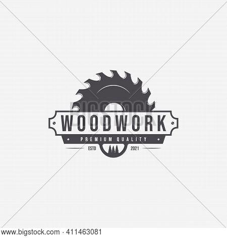 Wood Saws Logo Vector Illustration, Design Of Carpentry Concept, Woodwork Vintage Handmade, Crafting