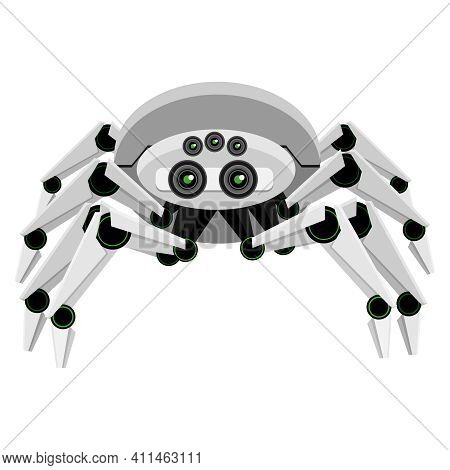 Spider Robot. Vector Toy Spider In The Style Of Android Robot On A White Background.
