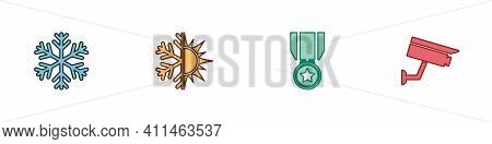 Set Snowflake, Sun And Snowflake, Medal With Star And Security Camera Icon. Vector