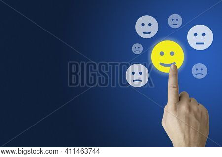 Hand Press On Excellent Happy Smile Face Rating For A Satisfaction Survey. Customer Experience Conce