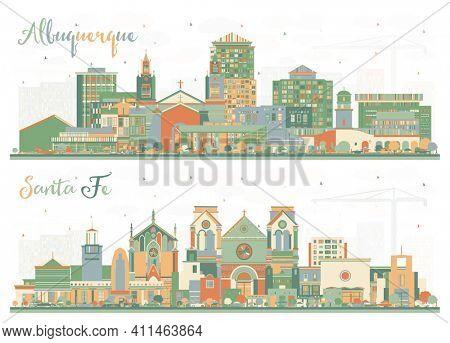 Santa Fe and Albuquerque New Mexico City Skyline Set with Color Buildings.