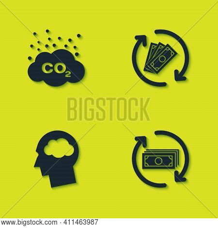 Set Co2 Emissions In Cloud, Refund Money, Head Silhouette With And Icon. Vector