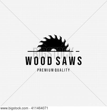 Wood Saws Vintage Logo Vector, Design Of Carpentry Concept, Minimalist Illustration Of Wood Working