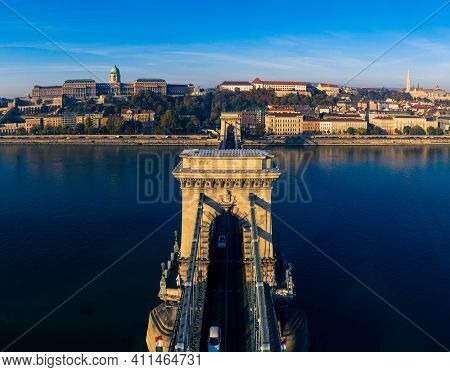 Budapest, Hungary Chain Bridge Buda castle drone panorama photo