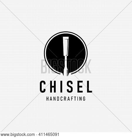 Handcraft With Chisel Carpentry Logo Vector Vintage, Simple Concept Of Design Carver, Illustration O