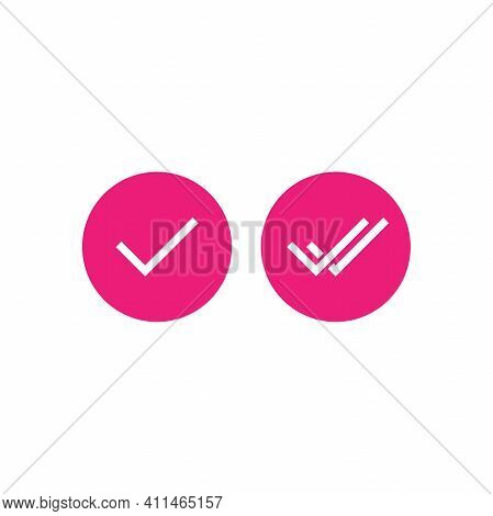Valid Seal Icons Set. Pink Circle With Tick And Double Tick. Flat Ok Sticker Icon. Isolated On White