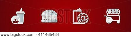 Set Soda Drink With Donut, Burger, Aluminum Can Soda And And Fast Street Food Cart Icon. Vector