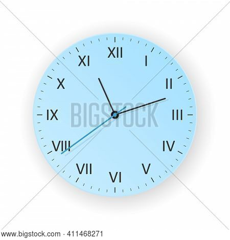 Vector Light Blue Clock Concept With Light Shadow, Show What Time Is It