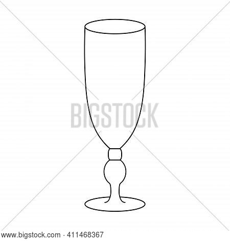 Cocktail Glass Sour. Sketch. Empty. Vector Illustration. A Glass For An Alcoholic Drink. Crystal Con