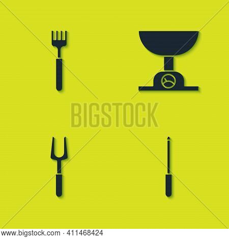 Set Fork, Knife Sharpener, Barbecue Fork And Electronic Scales Icon. Vector