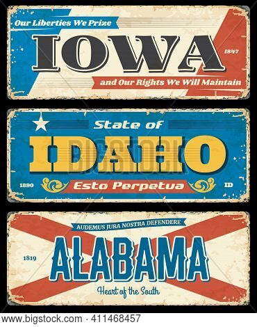 Usa States Rusty Metal Plates. Iowa, Idaho And Alabama Worn And Shabby Road Signs, Grungy Signpost O