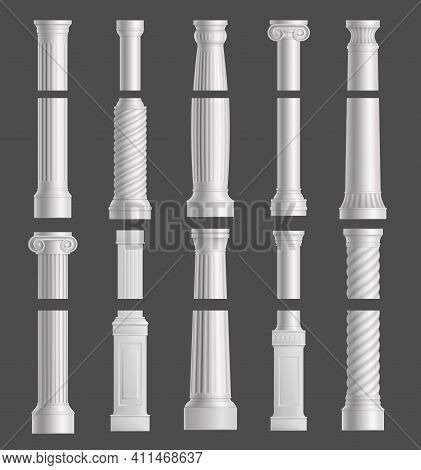 Antique Marble Columns Vector White Ancient Classic Pillars Of Roman Or Greece Architecture With Orn