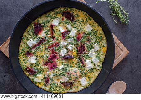Vegetable Frittata With Beetroot And Feta Cheese