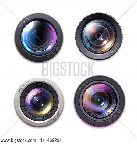 Photo Camera Lens, Optics Icons. Professional Photography Equipment, Video Camera Lens With Glass Gl