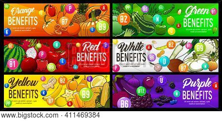 Color Diet Benefits Of Nutrition, Rainbow Food And Health, Vector Fruit Vitamins And Antioxidants. C