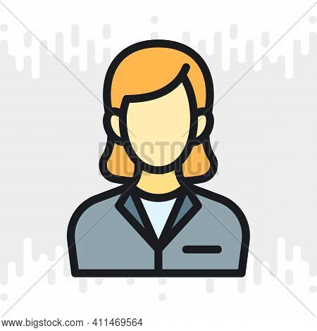 Business Woman Or Business Lady Icon. Woman In A Strict Business Suit. Simple Color Version On A Lig