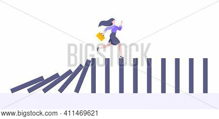 Domino Effect Or Business Cowardice Metaphor Vector Illustration Concept. Adult Young Businesswoman