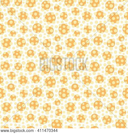 Yellow And Orange Small Spot Geometric Seamless Pattern Background. Textured Yellow And Orange Patte