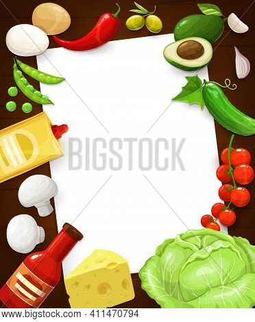 Kitchen Recipe Note, Cooking Page In Food Frame, Vector Blank Template. Kitchen Cookbook Card With A