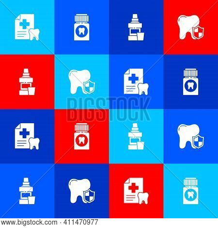 Set Dental Card, Painkiller Tablet, Mouthwash Bottle And Protection Icon. Vector