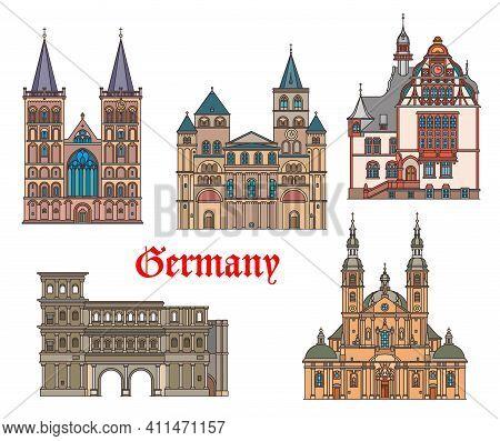 Germany Landmarks Architecture In Trier And Fulda German Cities, Vector. Landmark Buildings Of Saint
