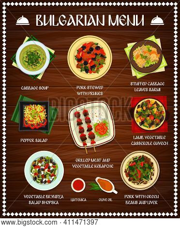 Bulgarian Cuisine Vector Menu Template Cabbage Soup, Pork Stewed With Prunes, Pepper Salad. Grilled