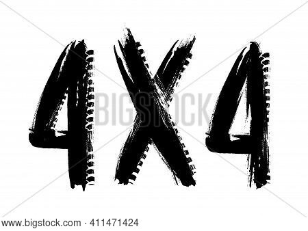 Off-road Racing Sport Grunge Print With Black Paint Smudges, Car Tires Dirty Traces Vector Texture.