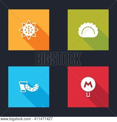 Set Sunflower, Dumplings, Glass With Vodka And Metro Or Underground Icon. Vector