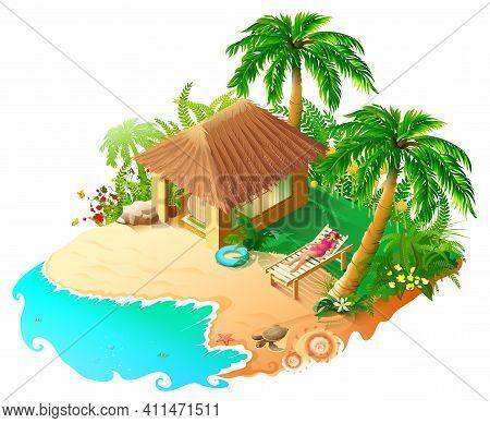 Beach Vacation Blue Sea, Green Palm Trees Golden Sand. Beautiful Woman Sunbathing In Sun Lounger. Is