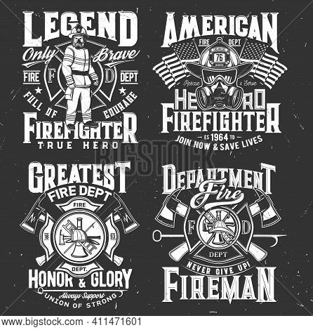 Firefighter T-shirt Print, Firefighting Department Emblem, Vector Fireman And Hydrant Icons. America