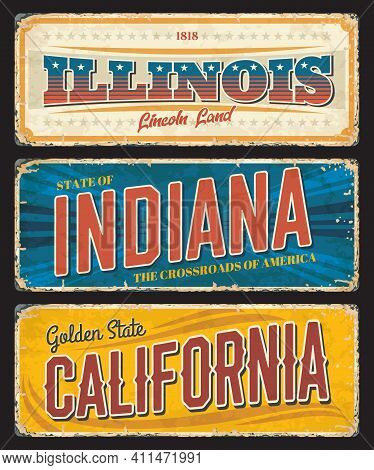American States Illinois, Indiana And California Vector Vintage Banners, Signs For Travel Destinatio