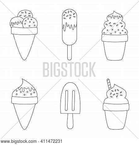 Color Cartoon Ice Creams. Coloring Page For Kids.