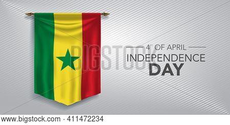 Senegal Independence Day Greeting Card, Banner, Vector Illustration