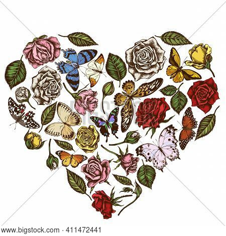 Heart Floral Design With Colored Lemon Butterfly, Red Lacewing, African Giant Swallowtail, Alcides A