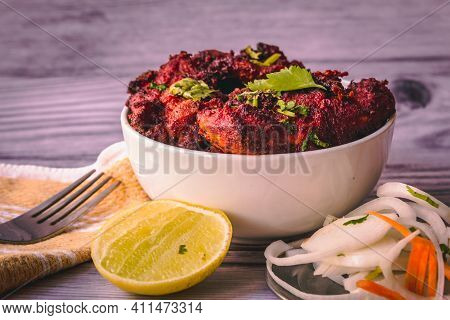 Deep Fired Chicken Known As Chicken 65 In South India. Spicy Fried Chicken With Relish