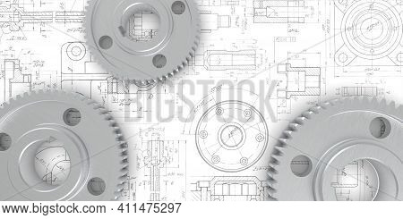 Iron Gears.engineering Technical Project.technical Drawing.rotating Mechanism Of Round Parts .machin
