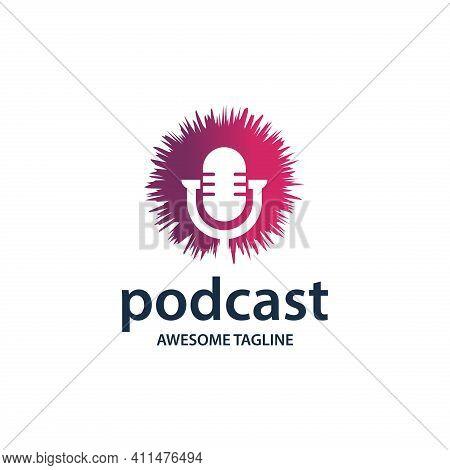Podcast. Podcast Logo. Podcast Illustration. Podcast Vector. Microphone. Microphone Illustration. Po