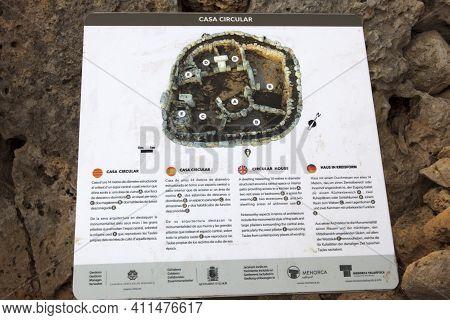 Torre D'en Galmés, Menorca / Spain - June 23, 2016: Torre D'en Galmés Prehistoric Site Sign, Menorca