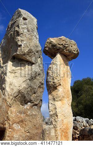 Torre D'en Galmés, Menorca / Spain - June 23, 2016: Prehistoric Area And Ruins At Torre D'en Galmés,