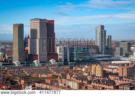 The Hague, Netherlands city centre skyline in the afternoon.