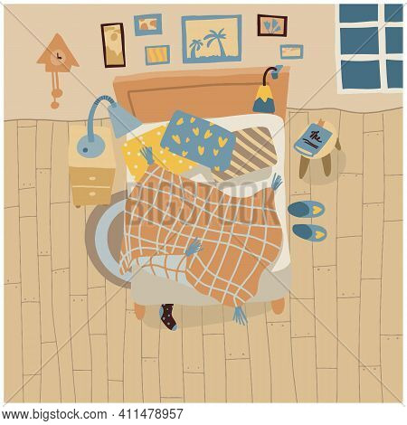 A Mess In Bedroom. Top View Interior In Flat Style. Cozy Room With Bed. Snugly Sleeping. Vector. . V